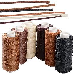 6 Rollos Cordón Encerado 1mm 50m Multicolores para Macramé