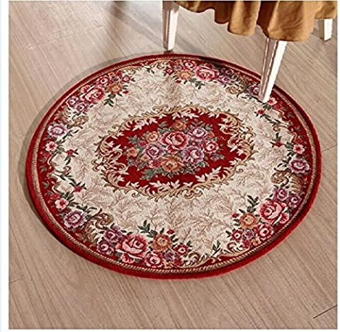 SANNIX Blue European Countryside Flower Living-room Rug Simple Fashion Embroidery Bedroom Area Rug Non-slip Washable Round Chair Carpet Mat(Red,90*90cm)