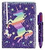 FRINGOO Carnet de notes avec sequins réversibles à motif de licorne, agenda avec stylo multicolore à sequins, pour filles et garçons, format A5avec marque-page, 80pages Rainbow Unicorn