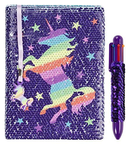Fringoo, diario con paillettes, reversibile con penna arcobaleno multicolore, per bambina e bambino, formato A5con segnalibro e penna glitterata, diario da 80pagine Rainbow Unicorn
