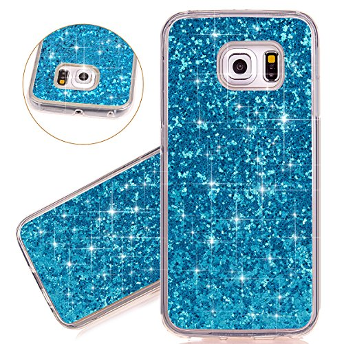 Isaken custodia galaxy s6 edge, glitter bling cover per samsung galaxy s6 edge - [tpu shock-absorption] elegant morbido silicone protettiva tpu bumper custodia brillante,ultra sottile gel cassa custodia caso - blu