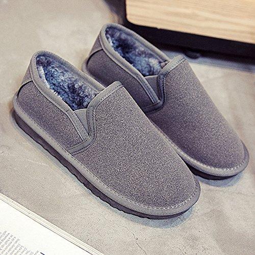SQIAO-X- Le coppie scarpe scarpe invernali versione coreana di pane, bassa Snow Boots femmina peddling calci più caldo in velluto stivali Cilindretto corto Grigio (femmina)