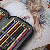Newcomdigi Federmappe Schüleretui 72 Bleistift Inhaber Farbstifte Mehrzweck Etui Bleistift-Beutel für Schule Büro Kunst (Bleistifte sind nicht enthalten) -schwarz Vergleich
