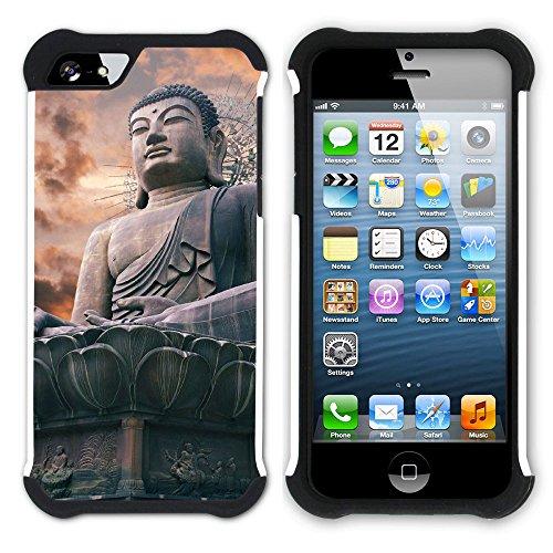 Graphic4You Buddha Buddhistisch Hart + Weiche Kratzfeste Hülle Case Schale Tasche Schutzhülle für Apple iPhone SE / 5 / 5S Design #8