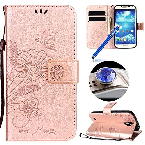 Etsue Schutzhülle Handytasche für Samsung Galaxy S4 Flip Tasche Case Leder Hülle Schmetterling Blumen Luxus Vintage Handyhülle Ledertasche Brieftasche Hülle Kartenfach Magnetverschluss,Rose Gold