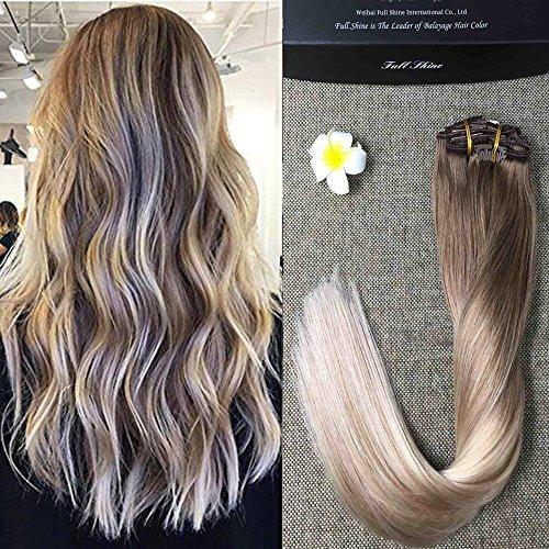 Full Shine 16 Zoll 10Pcs Full Head Set Clip in Balayage Remy Erweiterungen Farbe # 8 Fading to # 60 und # 18 Dark Brown Best Qualität Clip in Haarverlängerungen