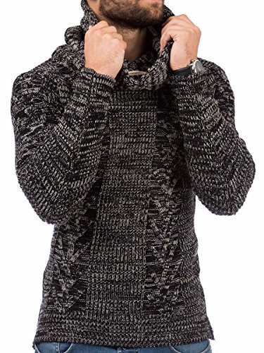 Pullover Herren Strickpullover Winter Pulli Tazzio Slim Fit Langarm Shirt Schwarz