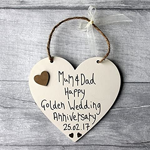 MadeAt94 GOLDEN WEDDING ANNIVERSARY PERSONALISED HEART HUSBAND WIFE 10th 20th