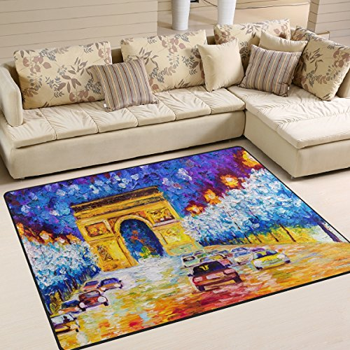 Naanle Peinture à l'huile Paris Arc de Triomphe antidérapant Zone Tapis pour salon salle de salle à manger Chambre à coucher de cuisine, 50 x 80 cm (1.7 'x 2.6' ft), œuvre d'art Paris Chambre d'enfant Tapis de sol Tapis Tapis de yoga, multicolore, 120 x 160 cm(4' x 5')