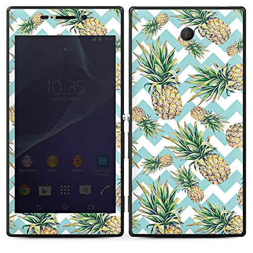 DeinDesign Folie kompatibel mit Sony Xperia M2 Aqua Aufkleber Skin aus Vinyl-Folie Pineapple Ananas Pattern