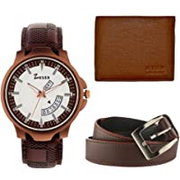 Zesta Analogue White Dial Combo Pack of a Brown Men's Watch with Wallet and a Belt