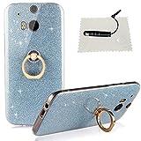 TOCASO HTC One M8 Transparent hülle,HTC One M8 Case Silicone Hüllen Handy Gehäuse Hülle Case TPU Stoßstange Sparkle Pailletten Case Anti-Staub Anti-Kratzer Case für HTC One M8 - Blau