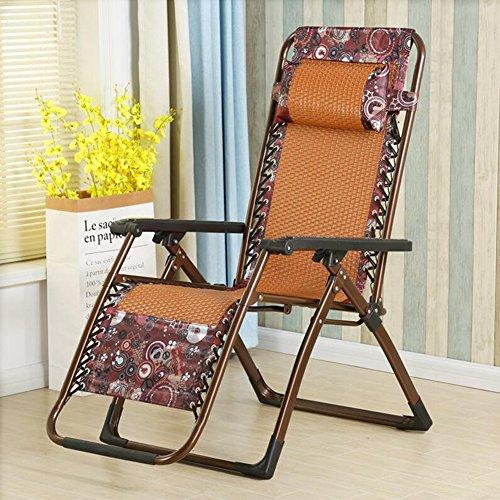 DALL Chaises longues STY-13 Minimaliste Moderne Tissu + PE Rotin + Tuyaux En Acier Réglage Multi-angle Multi-fonction Fauteuil Inclinable Portable Pliable (Couleur : Orange)