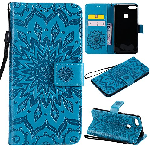 Price comparison product image For Huawei Honor 10 Lite Case [Blue], Cozy Hut [Wallet Case] Magnetic Flip Book Style Cover Case , High Quality Classic New design Sunflower Pattern Design Premium PU Leather Folding Wallet Case With [Lanyard Strap] and [Credit Card Slots] Stand Function Folio Protective Holder Perfect Fit For Huawei Honor 10 Lite - blue