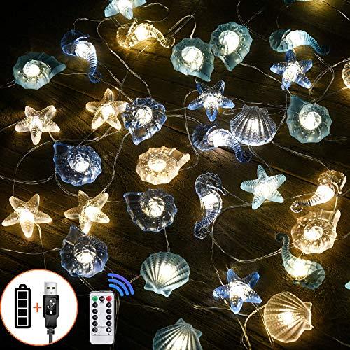 Led lichterkette Innen Außen licht Lichterketten Beleuchtung Batterie Muschel Seepferdchen Seestern Maritime Strand Vasen Tisch Dekoration Garten Bad Badezimmer Schlafzimmer Hochzeit Party Deko -