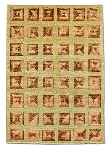 Pak Persian Rugs Handgeknüpfter Gabbeh Teppich, Dark Champagner/Sand, Wolle, Small, 122 X 172 cm -