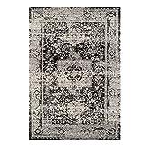 Teppich Flachflor Vintage-Teppich mit Orientalischen Muster Grau Schwarz für Wohnzimmer Größe 80/150 cm