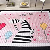 Regenbogen Einhorn Kinder Babys Straßenkarte Baumwolle Groß Weich Krabbeldecken| Spielbögen| Spielmatte| Spielteppiche für Kinderzimmer, 145 * 195cm (Zibra)