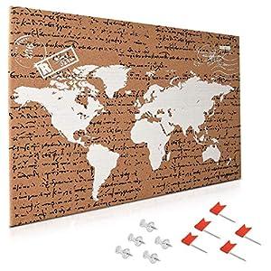 Navaris tablero de corcho – Tablero de mapa del mundo 60x40CM con 10 chinchetas rojas y transparentes – Pizarra de corcho con diseño de mapamundi
