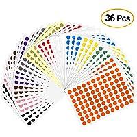 Kuuqa 36 hojas Etiquetas de codificación a color de 8 mm Etiquetas pequeñas de puntos redondos Etiquetas adhesivas de marcado (3168 puntos)