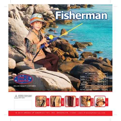 Imagen de dress up america  pescador, disfraz para niños, 3 4 años 495 t4  alternativa