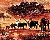DIY Ölgemälde durch Zahlen, Handgemalte Wand Leinwand Elefanten Malerei Bild für Wohnzimmer Wohnkultur Kunst, 16 * 20 Zoll Rahmenlose