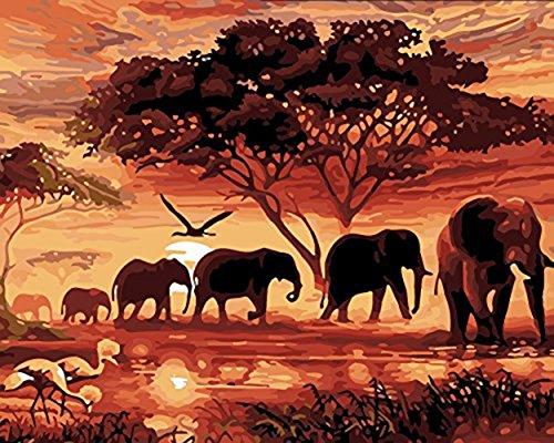 h Zahlen, Handgemalte Wand Leinwand Elefanten Malerei Bild für Wohnzimmer Wohnkultur Kunst, 16 * 20 Zoll Rahmenlose ()