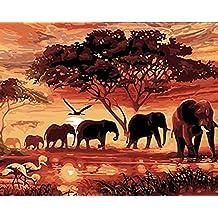 Pintura al óleo de DIY por los números, pintados a mano de la lona de la pared Elefantes cuadro de pintura para el arte de la sala de estar Decoración, 16 * 20 pulgadas sin marco