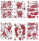 Tuopuda 6 Hojas Halloween Pegatinas Bloody Footprints Handprints Halloween Pegatinas para Ventana Pegatinas para Pared Halloween Decoracion (Rojo)
