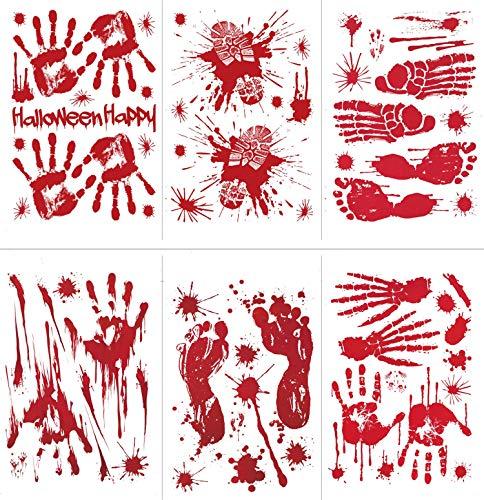 Tuopuda 6 Blätter Halloween Dekoration Blutige Handabdrücke Fußabdrücke Fensteraufkleber Halloween Fenster Boden Wandklammern Aufkleber Statische Aufkleber für Halloween Party Wandaufkleber (rot)