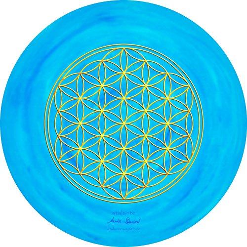 atalantes spirit - Blume des Lebens-Mauspad hellblau - Ø 19 cm, rund - Energie-Untersetzer Kehlchakra - MousePad-Unterseite: Moosgummi, schwarz