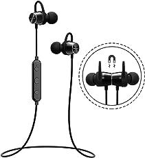 Mpow Auricolari IPX7 Magnetico Bluetooth 4.1 Cuffie Magnetico Bluetooth, Auricolari Magnetico Stereo Wireless Sport Auricolari Magnetico per L'esecuzione, Jogging, Allenamento per iPhone 8/8X/7/7 Plus, 6s plus/6s, iPad, LG G2, Samsung Galaxy, Note 4/Note 3/Note 2, Sony, Huawei P9 ed altri Smartphone-Nero