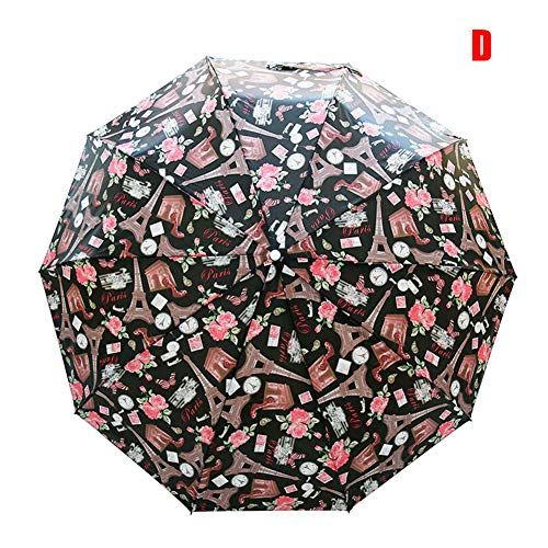 Ohyoulive Retro Flowers Print Umbrella Folding Windproof