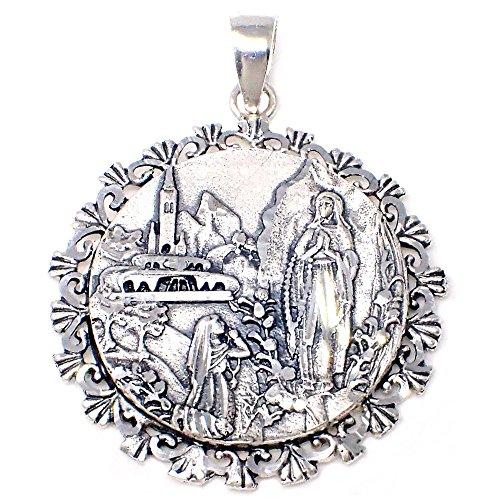 Medalla Plata Ley 925M 35mm. Virgen Lourdes Cerco Unisex - Personalizable - Grabación Incluida En El Precio