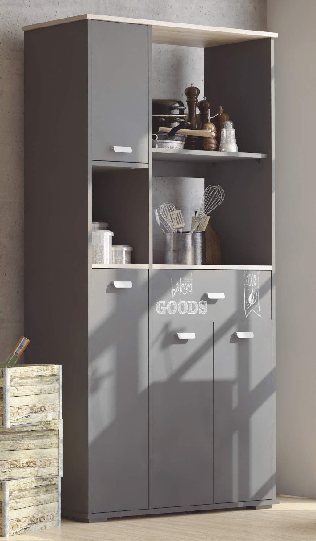 Abitti - Credenza da cucina a 4 ante e 1 cassetto, colore: grigio  grafite180 cm.