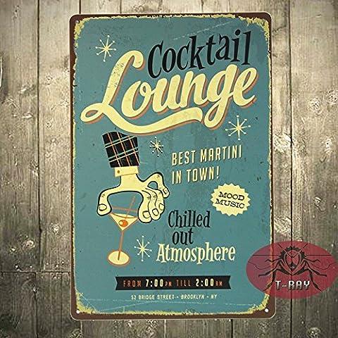 t-ray cóctel Lounge mejor MARTINI en la ciudad Póster de tamaño grande de metal tin sign Placa de pared