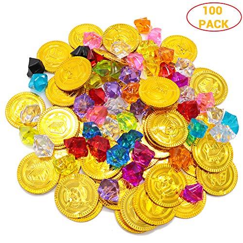 Julyfun 320 PCs Toys Gold Coins Pirate Gems Jewellery