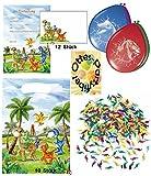 Kleine Dinosaurier Dekoset Partyset Luftballons Konfetti Mitgebsel-Tüten Einladungen für 10 Kinder