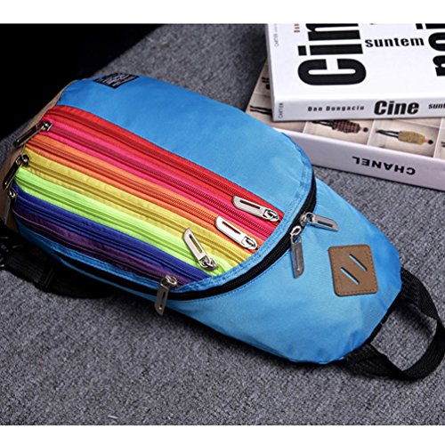 Vbiger Bolso Oxford Messenger diseño casual de cremallera a rayas arcoiris con bolsillo en el pecho