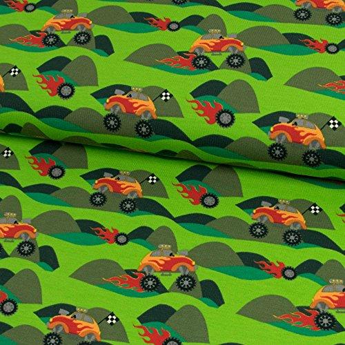 Baumwolljersey Heiße Reifen grün Kinderstoffe Monstertrucks - Preis gilt für 0,5 Meter -