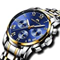 Mens Stainless Steel Watches Men Chronograph Sport Waterproof Luxury Luminous Date Calendar Gold Wrist Watch Casual Business Dress Analogue Counts Roman Numeral Blue Watches for Men