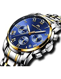 Mens Stainless Steel Chronograph Watches Men Luxury Waterproof Luminous Date Calendar Analogue Counts Watch Gents Sports Business Casual Dress Wrist Watch with Gold Case Roman Numerals Blue Dial