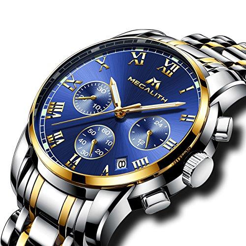 Herren Edelstahl Uhren Männer Chronograph Luxus Design Wasserdicht Datum Kalender Armbanduhr Geschäfts Beiläufig Mode Kleid Sport Analog Quarz Uhr mit Gold Gehäuse Römische...