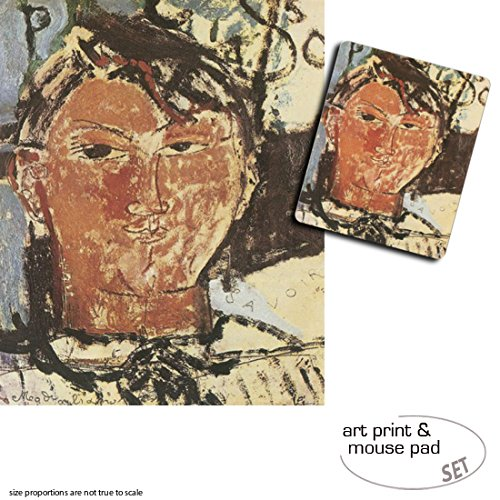 Geschenkset: 1 Poster Kunstdruck (50x40 cm) + 1 Mauspad (23x19 cm) - Amedeo Modigliani, Bildnis Pablo Picasso, 1915, Detail -
