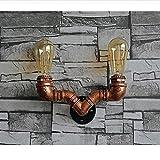 HJZY Kreative Retro Edison E27 2-Lights Wandleuchte Kreative Kupfer Dekoration Wandleuchte Wandleuchte Bar Restaurant Schlafzimmer Cafe Schmiedeeisen Handgemachte Wasserrohr Wandlaterne (Nicht Mit Glühbirne)