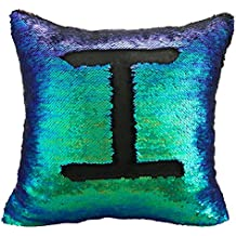 Luxbon de 2 Colores Paillette Reversible Lentejuelas de Sirena DIY Fundas de Almohada 40x40cm (negro