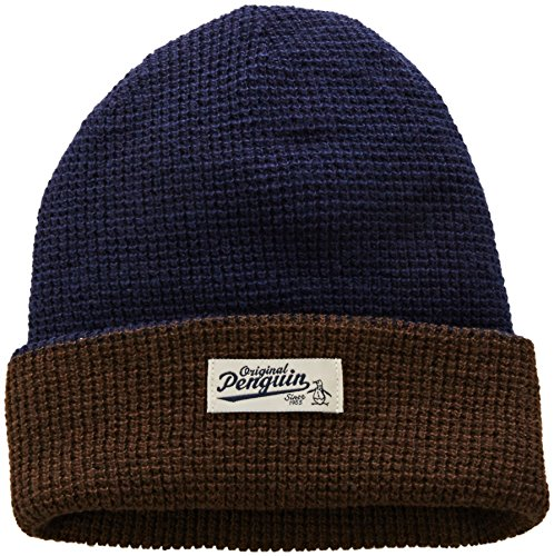 Original Penguin Men's Reversible Waffle Knit Watchcap, Dark Sapphire, One Size (Reversible Knit Mens)