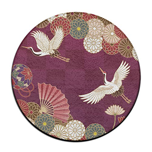 Chinesischer Stil Crane Bird rund Teppich Bereich Teppich Eingang Eintrag Weg, vorne Fußmatte Ground 59,9cm Teppiche für Decor Dekorative Herren Frauen Büro (Teppich Chinesische)