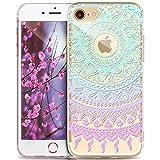 iPhone 5S Hülle,iPhone SE Hülle,iPhone 5 Hülle,ikasus Indische Sonne Muster Handyhülle Silikon TPU Silikon Hülle Handyhülle Tasche Durchsichtig Schutzhülle für iPhone SE/5S/5,Mandala Spitze Blumen #7