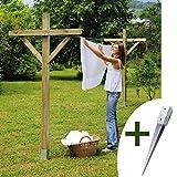Kit Etendoir à linge bois et ses 2 supports à planter 91 X 91 mm